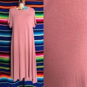 LuLaRoe Tee Shirt Pocket Hi Lo Midi Solid Dress